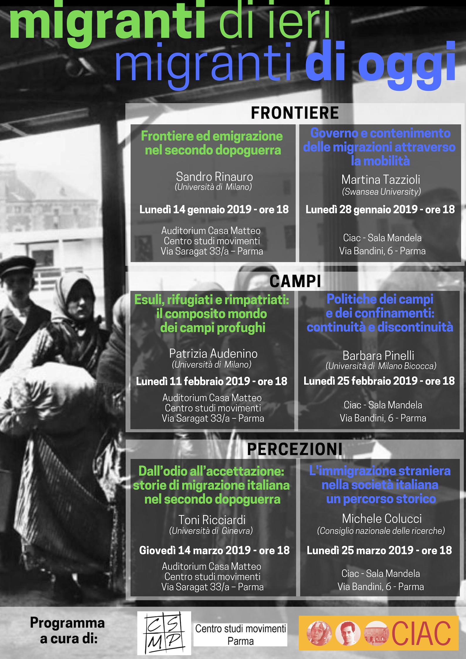 Migranti di ieri, Migranti di oggi. Ciclo di incontri – Gennaio/marzo 2019