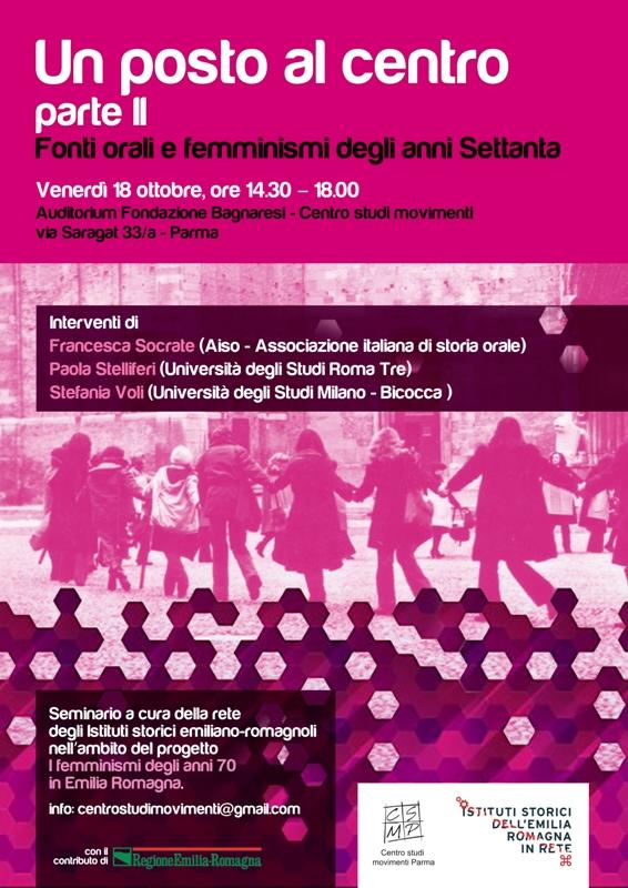 Fonti orali e femminismi degli anni Settanta – 18 Ottobre 2019