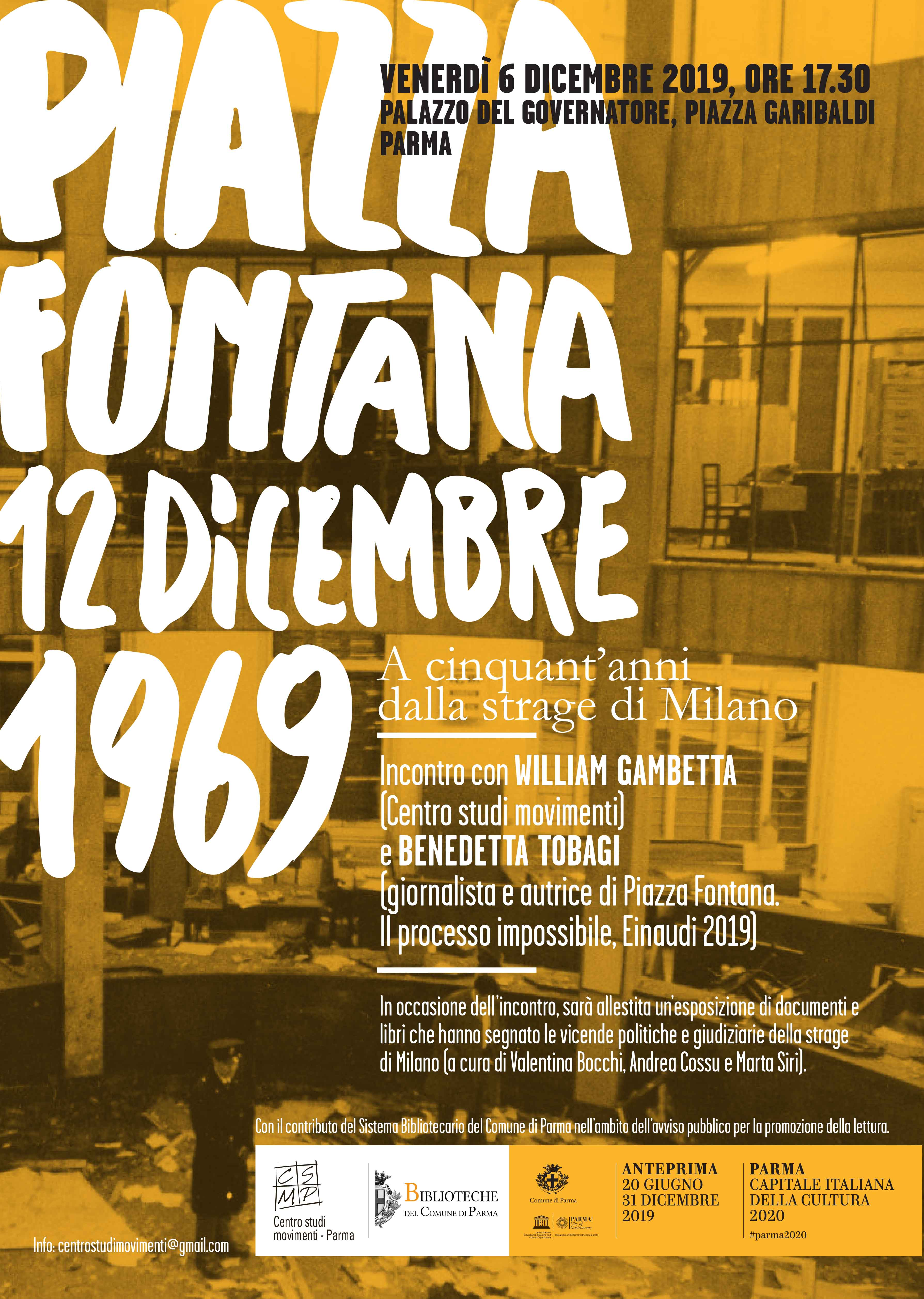 Piazza Fontana, 12 dicembre 1969. Incontro con Benedetta Tobagi – Venerdì 6 dicembre 2019